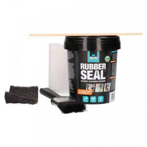 Bison Rubber Seal starterskit uitgepakt: Pot rubber sea, kwast, schuurpad, textielband en een roerhoutje