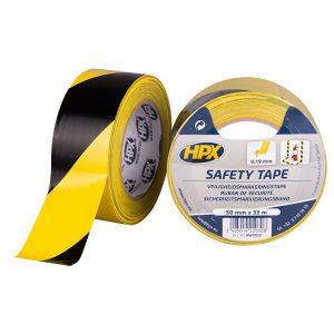 HPX markeringstape geel-zwart 50mm x 33 m